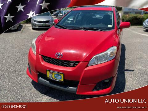 2010 Toyota Matrix for sale at Auto Union LLC in Virginia Beach VA