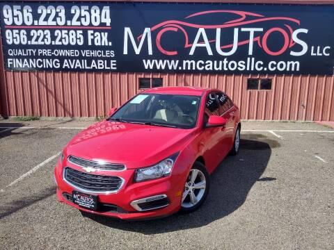 2015 Chevrolet Cruze for sale at MC Autos LLC in Pharr TX