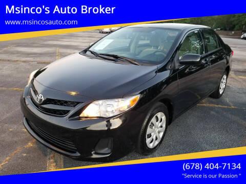 2012 Toyota Corolla for sale at Msinco's Auto Broker in Snellville GA