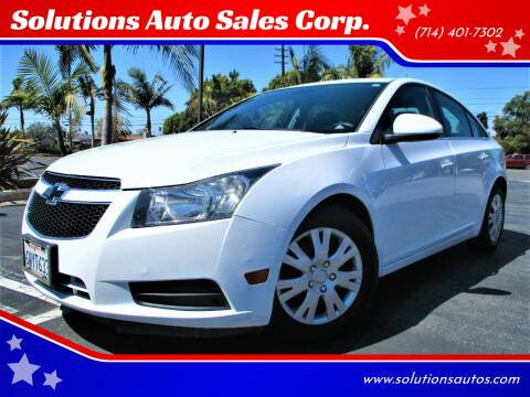 2012 Chevrolet Cruze for sale at Solutions Auto Sales Corp. in Orange CA
