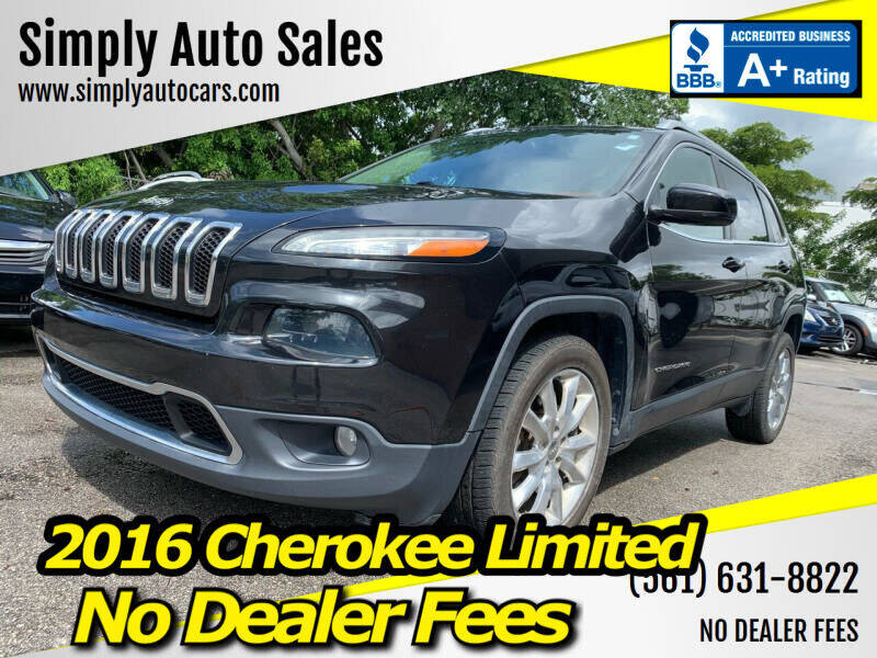 2016 Jeep Cherokee for sale at Simply Auto Sales in Palm Beach Gardens FL
