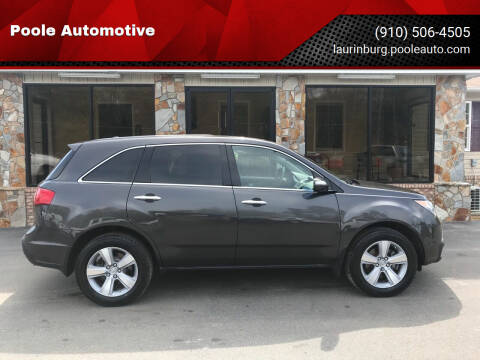 2011 Acura MDX for sale at Poole Automotive in Laurinburg NC