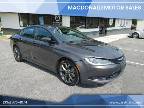 2015 Chrysler 200 for sale at MacDonald Motor Sales in High Point NC