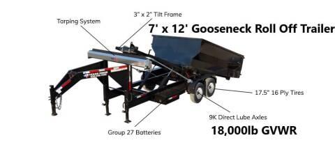 2021 TEXAS PRIDE 7'X12' Gooseneck Roll Off 18K for sale at Montgomery Trailer Sales - Texas Pride in Conroe TX