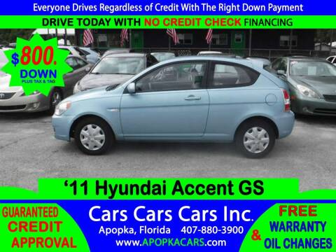 2011 Hyundai Accent for sale at CARS CARS CARS INC in Apopka FL