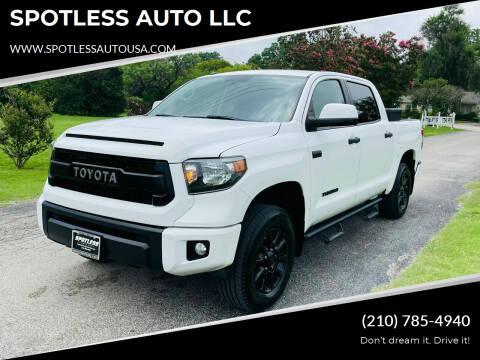 2017 Toyota Tundra for sale at SPOTLESS AUTO LLC in San Antonio TX