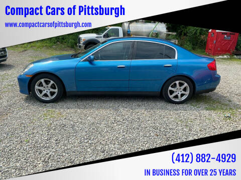 2004 Infiniti G35 for sale at Compact Cars of Pittsburgh in Pittsburgh PA