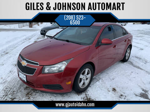 2014 Chevrolet Cruze for sale at GILES & JOHNSON AUTOMART in Idaho Falls ID