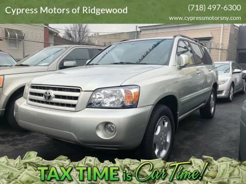 2004 Toyota Highlander for sale at Cypress Motors of Ridgewood in Ridgewood NY