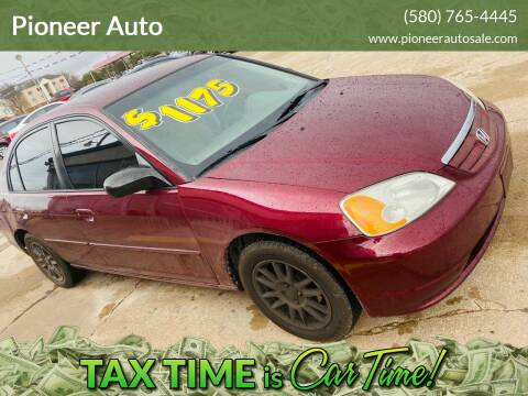 2002 Honda Civic for sale at Pioneer Auto in Ponca City OK