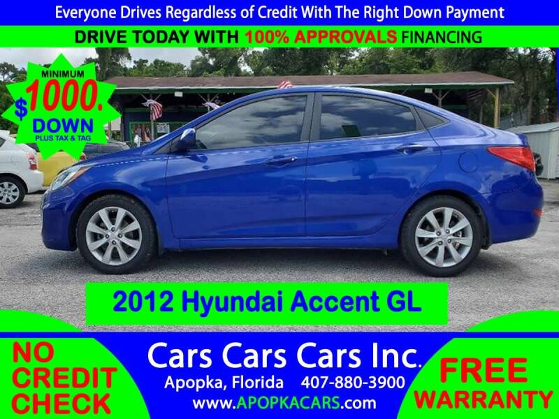2012 Hyundai Accent for sale at CARS CARS CARS INC in Apopka FL
