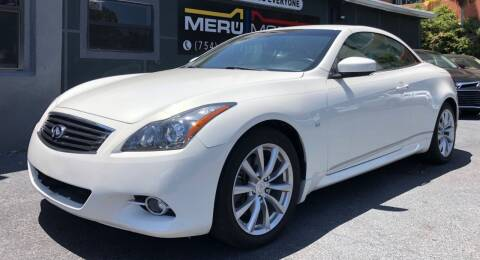 2014 Infiniti Q60 Convertible for sale at Meru Motors in Hollywood FL