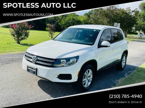 2013 Volkswagen Tiguan for sale at SPOTLESS AUTO LLC in San Antonio TX