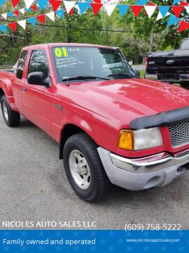 2001 Ford Ranger for sale at NICOLES AUTO SALES LLC in Cream Ridge NJ