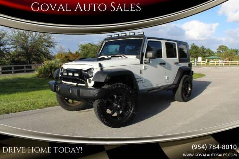 2010 Jeep Wrangler Unlimited for sale at Goval Auto Sales in Pompano Beach FL