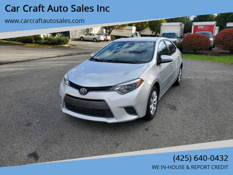 2015 Toyota Corolla for sale at Car Craft Auto Sales Inc in Lynnwood WA