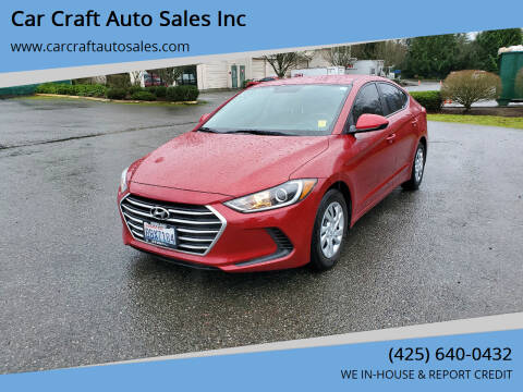 2017 Hyundai Elantra for sale at Car Craft Auto Sales Inc in Lynnwood WA