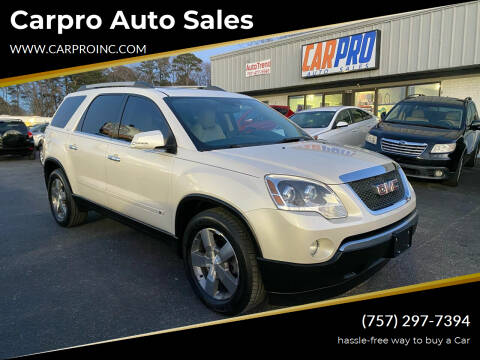 2010 GMC Acadia for sale at Carpro Auto Sales in Chesapeake VA