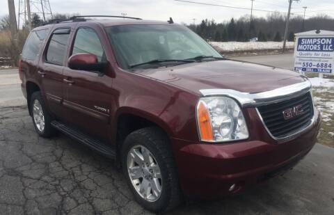 2008 GMC Yukon for sale at SIMPSON MOTORS in Youngstown OH