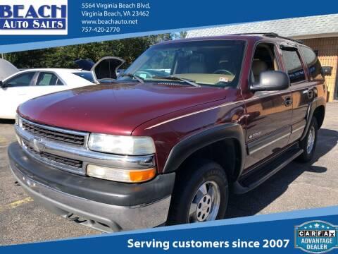 2000 Chevrolet Tahoe for sale at Beach Auto Sales in Virginia Beach VA