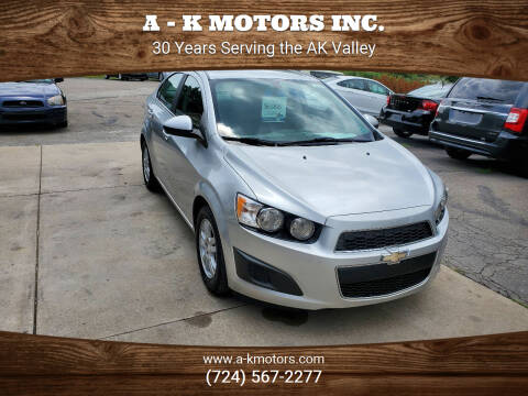 2014 Chevrolet Sonic for sale at A - K Motors Inc. in Vandergrift PA