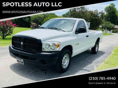 2008 Dodge Ram Pickup 1500 for sale at SPOTLESS AUTO LLC in San Antonio TX