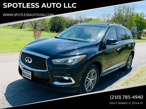 2017 Infiniti QX60 for sale at SPOTLESS AUTO LLC in San Antonio TX