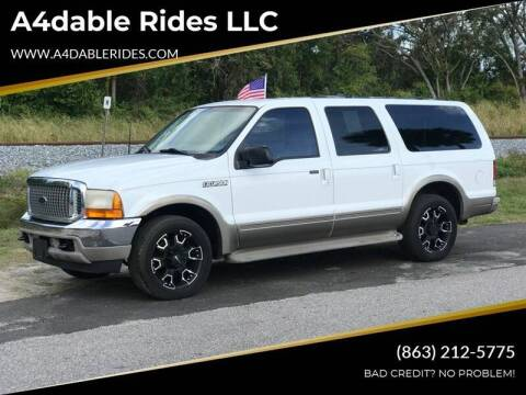 2001 Ford Excursion for sale at A4dable Rides LLC in Haines City FL