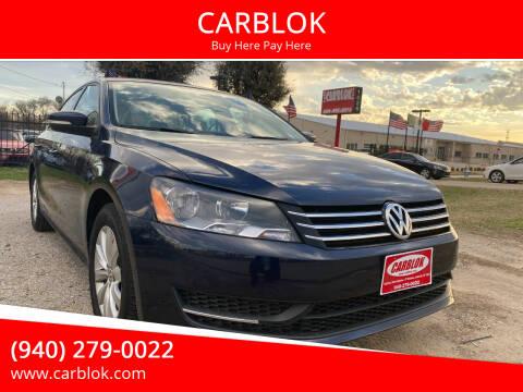 2015 Volkswagen Passat for sale at CARBLOK in Lewisville TX