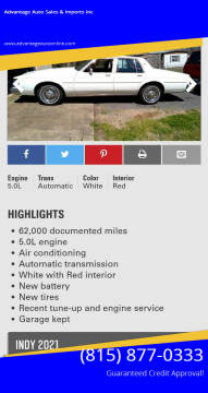 1984 Oldsmobile Delta Eighty-Eight Royale for sale at Advantage Auto Sales & Imports Inc in Loves Park IL