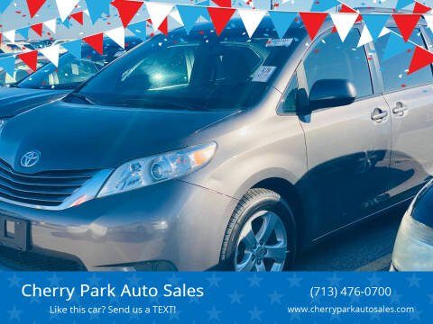 2017 Toyota Sienna for sale at Cherry Park Auto Sales in Houston TX