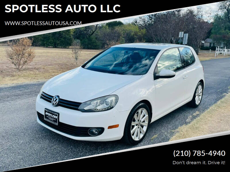 2012 Volkswagen Golf for sale at SPOTLESS AUTO LLC in San Antonio TX
