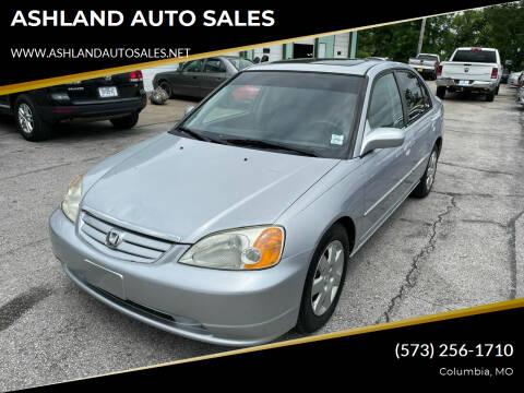 2002 Honda Civic for sale at ASHLAND AUTO SALES in Columbia MO
