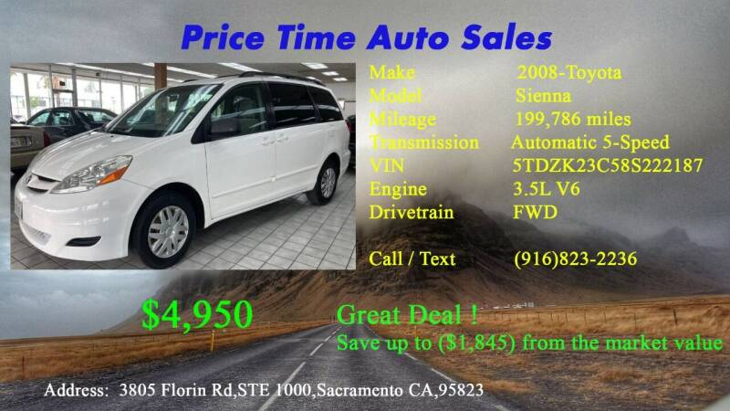 2008 Toyota Sienna for sale at PRICE TIME AUTO SALES in Sacramento CA