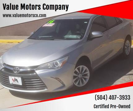 2016 Toyota Camry for sale at Value Motors Company in Marrero LA