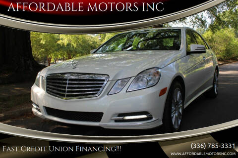 2013 Mercedes-Benz E-Class for sale at AFFORDABLE MOTORS INC in Winston Salem NC
