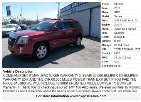 2010 GMC Terrain for sale at Highway 100 & Loomis Road Sales in Franklin WI
