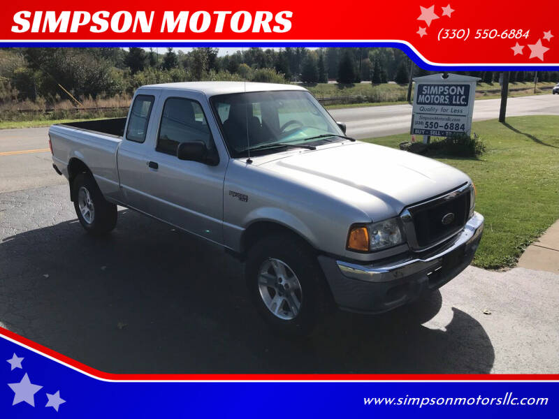 2004 Ford Ranger for sale at SIMPSON MOTORS in Youngstown OH