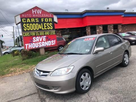 2004 Honda Civic for sale at HW Auto Wholesale in Norfolk VA