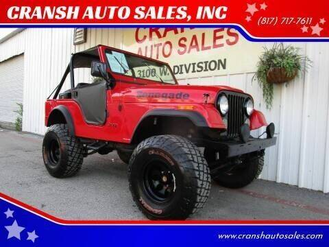 1978 Jeep CJ-5 for sale at CRANSH AUTO SALES, INC in Arlington TX