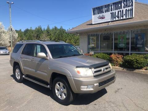 2004 Toyota 4Runner for sale at NATIONAL CAR AND TRUCK SALES LLC in Norwood NC
