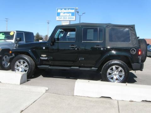2012 Jeep Wrangler Unlimited for sale at MCQUISTON MOTORS in Wyandotte MI
