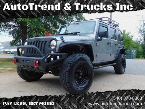 2014 Jeep Wrangler Unlimited for sale at AutoTrend & Trucks Inc in Fredericksburg VA