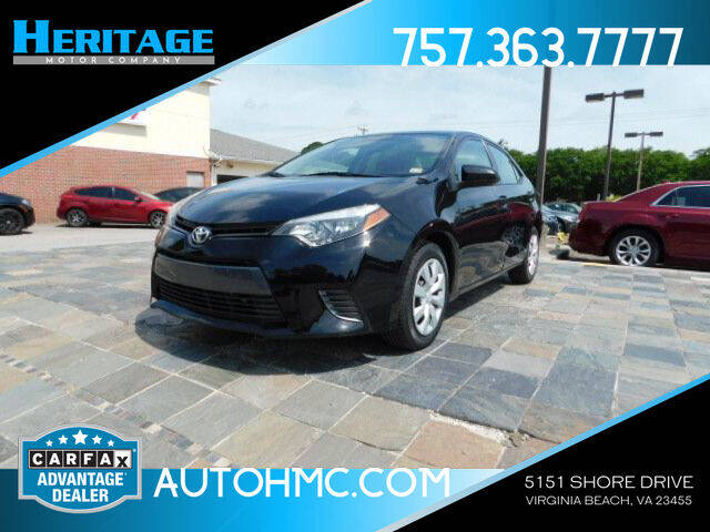 2016 Toyota Corolla for sale at Heritage Motor Company in Virginia Beach VA