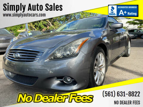 2012 Infiniti G37 Convertible for sale at Simply Auto Sales in Palm Beach Gardens FL