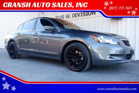 2008 Honda Accord for sale at CRANSH AUTO SALES, INC in Arlington TX