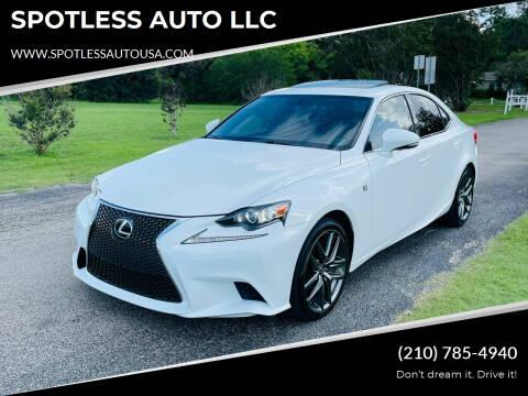 2016 Lexus IS 200t for sale at SPOTLESS AUTO LLC in San Antonio TX