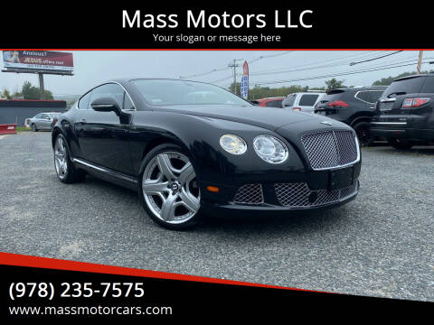 2013 Bentley Continental for sale at Mass Motors LLC in Worcester MA