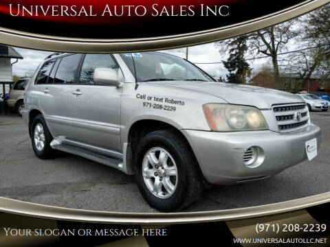 2002 Toyota Highlander for sale at Universal Auto Sales Inc in Salem OR