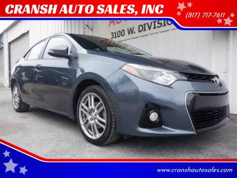 2014 Toyota Corolla for sale at CRANSH AUTO SALES, INC in Arlington TX